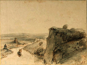 Andreas Schelfhout - An extensive rocky landscape with sailing boats on a river