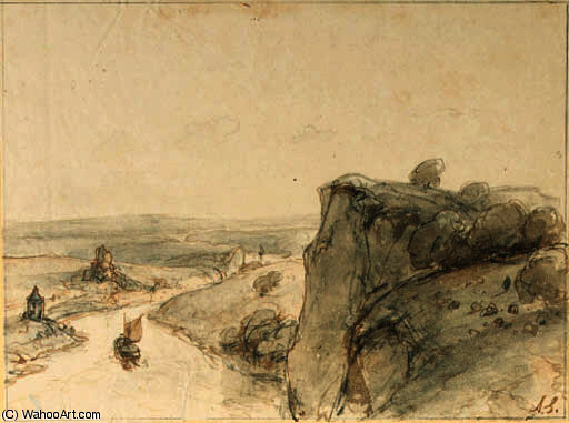 An extensive rocky landscape with sailing boats on a river by Andreas Schelfhout (1787-1870, Netherlands) | WahooArt.com