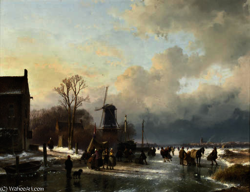 An extensive winter landscape with numerous villagers on the ice by Andreas Schelfhout (1787-1870, Netherlands)