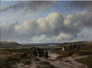 Andreas Schelfhout - Cavalry on its way to the ten-day battle near hasselt