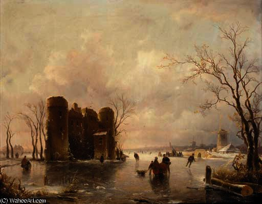 Order Art Reproductions | Figures skating on a frozen pond, windmills beyond by Andreas Schelfhout (1787-1870, Netherlands) | WahooArt.com