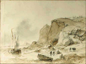 Andreas Schelfhout - Fishermen unloading their merchandise on a rocky coast