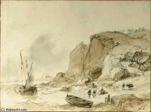 Fishermen unloading their merchandise on a rocky coast by Andreas Schelfhout (1787-1870, Netherlands) | WahooArt.com