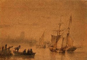Andreas Schelfhout - Marina with ferry sailing ships and signed
