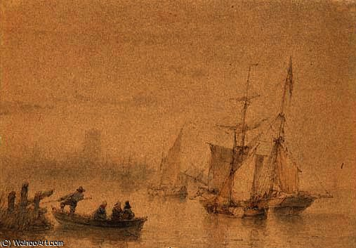 Marina with ferry sailing ships and signed by Andreas Schelfhout (1787-1870, Netherlands) | Oil Painting | WahooArt.com
