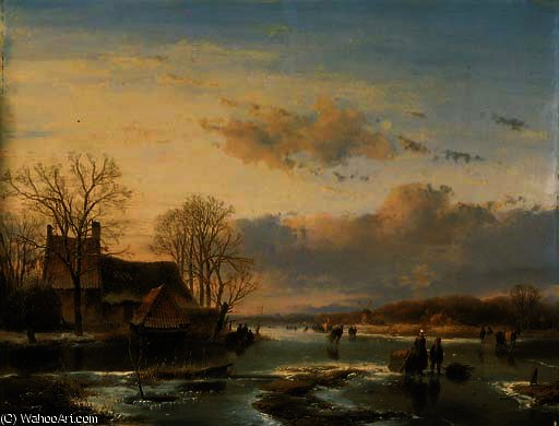 On the maas by Andreas Schelfhout (1787-1870, Netherlands) | WahooArt.com