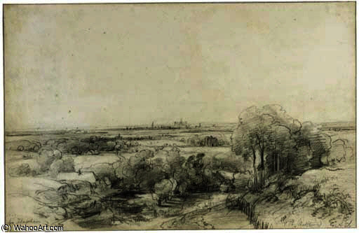 Panoramic view of haarlem with the ruins of castle brederode by Andreas Schelfhout (1787-1870, Netherlands)