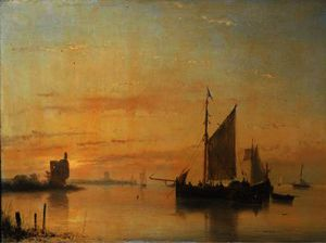 Andreas Schelfhout - Sailing vessels at anchor on the merwede river with dordrecht beyond