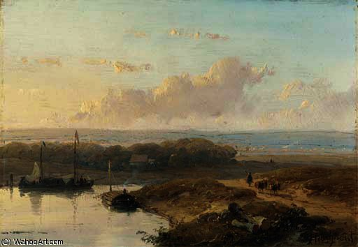 Shipping on a calm river in a panoramic summer landscape by Andreas Schelfhout (1787-1870, Netherlands) | WahooArt.com
