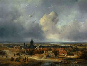 Andreas Schelfhout - Summer in holland - a panoramic view of a village in the dunes
