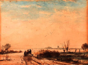 Andreas Schelfhout - Travellers on a frozen river in a winter landscape
