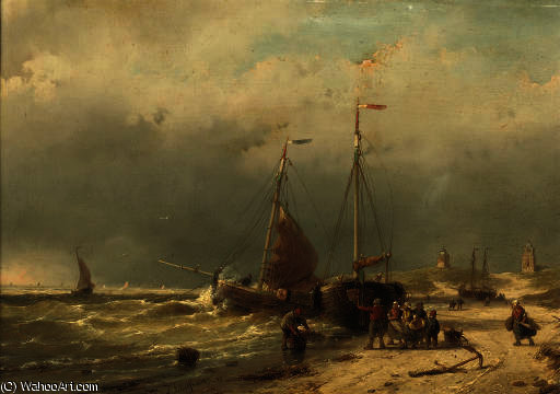 Unloading the catch on the beach of scheveningen by Andreas Schelfhout (1787-1870, Netherlands)