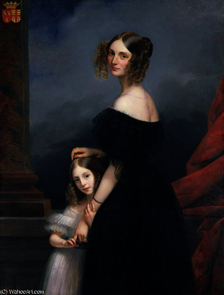 Anne-Louise Alix de Montmorency, with her daughter by Claude Marie Paul Dubufe (1790-1864) | Paintings Reproductions Claude Marie Paul Dubufe | WahooArt.com