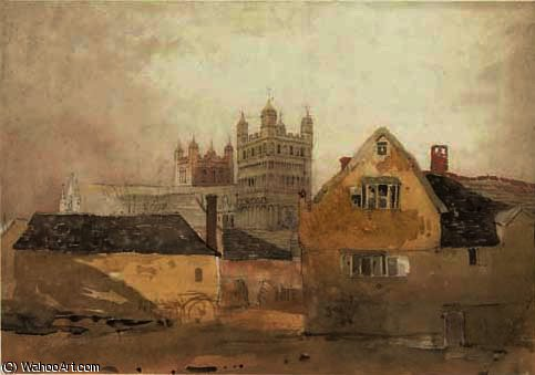 View of exeter cathedral by Cornelius Varley (1781-1873, United Kingdom)