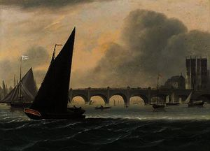 Daniel Turner - Shipping on the thames before westminster bridge; and lambeth palace