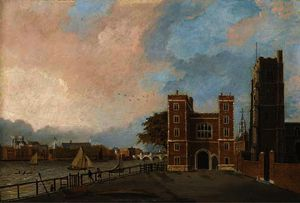 Daniel Turner - View of lambeth palace by the thames, westminster abbey and westminster bridge beyond