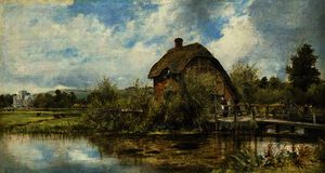 Frederick Waters (William) Watts - A figure by a mill cottage in a river landscape with a village in the distance, traditionally believed to be near winchester, hampshire