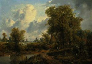 Frederick Waters (William) Watts - Wooded landscape with figures by a cottage and a church beyond