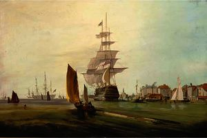 George Webster - Royal naval three-decker, running into harbour, with other ships of the royal navy beyond