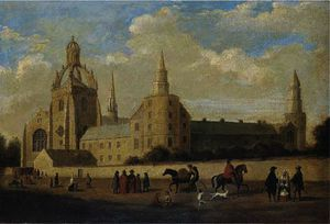 James William Giles - View of king's college, aberdeen, with figures in the foreground