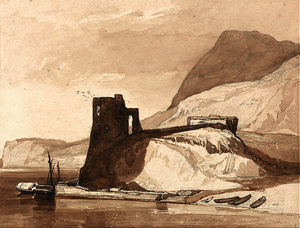 John Sell Cotman - Coast Scene with a Castle