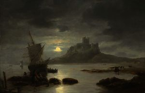 John Wilson Carmichael - Bamburgh castle by moonlight, with figures and boats in the foreground