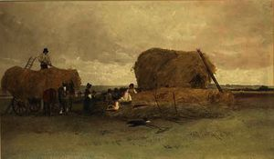 Peter De Wint - Harvesting scene, stacking hay