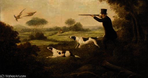 A gentleman shooting in a wooded landscape by Samuel John Egbert Jones (1797-1861, United Kingdom)