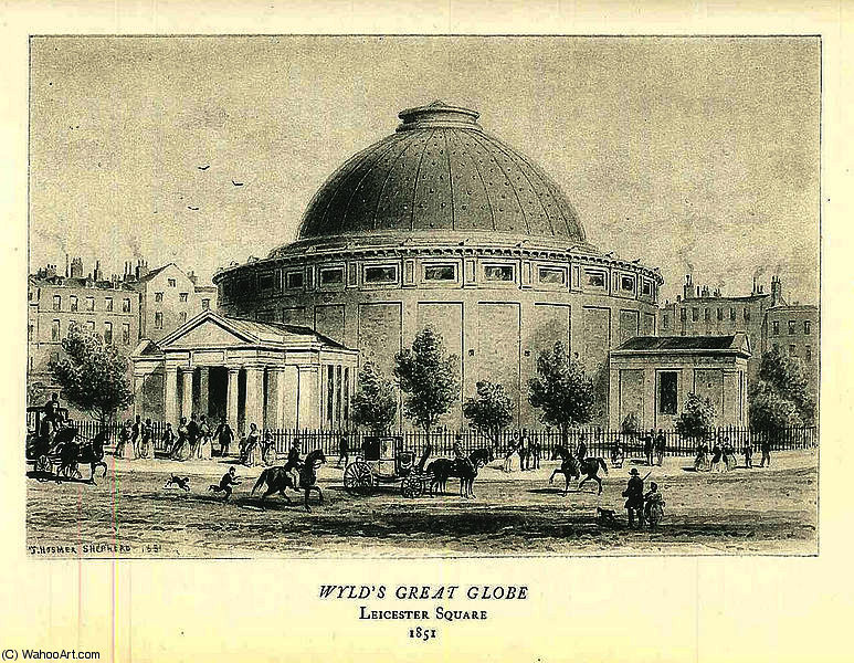 Print of the Great Globe which stood in Leicester Square by Thomas Hosmer Shepherd (1792-1864, United Kingdom)