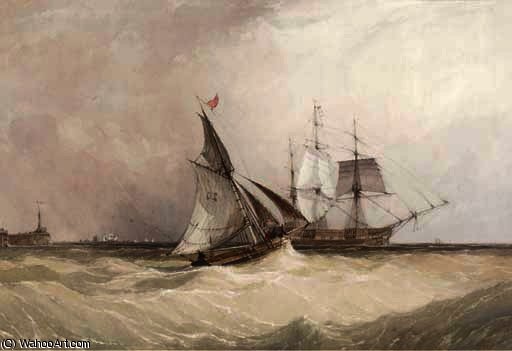 A cutter running out to meet the new arrival by Charles Bentley (1805-1854, United Kingdom)