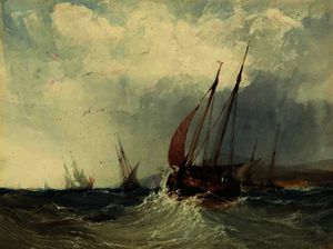 Charles Bentley - A trawler in a swell
