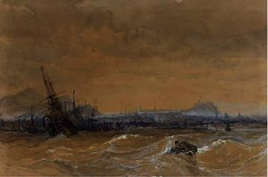 Charles Bentley - Shipping in a heavy swell off leith