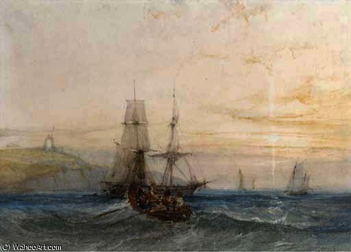 Shipping off a coast by Charles Bentley (1805-1854, United Kingdom) | Oil Painting | WahooArt.com