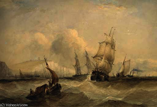 The crowded channel off dover by Charles Bentley (1805-1854, United Kingdom) | Famous Paintings Reproductions | WahooArt.com