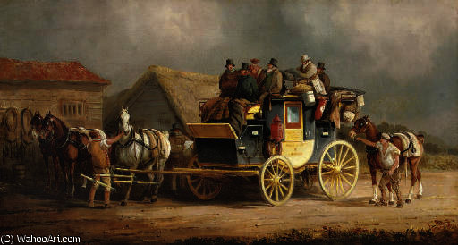The worcester to london coach changing horses by Charles Cooper Henderson (1803-1877, United Kingdom) | Painting Copy | WahooArt.com