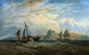 Edward Duncan - A merchantman and local craft off the south wales' coast