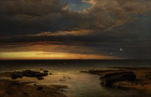 George Edwards Hering - Daybreak - night and storm have stolen away and nothing now upon the shore tells the tale of yesterday but a wrecked hope, no calms restore