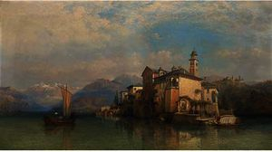 George Edwards Hering - Isola san guilo, lake orta