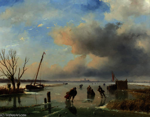 Skaters near dordrecht by Nicolaas Johannes Roosenboom (1805-1880, Netherlands)