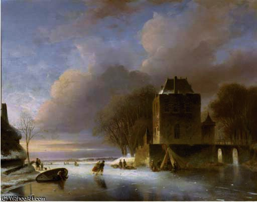 Skaters on a frozen river with a koek en zopie by a mansion by Nicolaas Johannes Roosenboom (1805-1880, Netherlands)