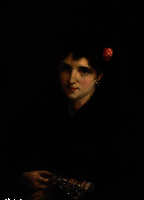 Portrait of a spanish beauty by William Oliver (1805-1853, United Kingdom) | WahooArt.com