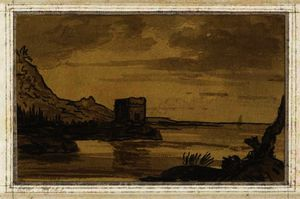 Alexander Cozens - A coastal landscape with a ruined tower