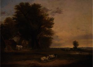 Edward Charles Williams - Sheep and cattle in a summer landscape
