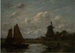 Jacob Henricus Maris - Setting sail beside a windmill