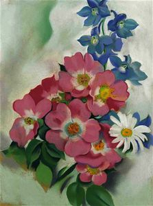 Georgia Totto O-keeffe - Pink roses and larkspur