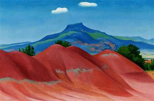 Georgia Totto O-keeffe - Red hills with pedernal, white clouds
