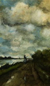 Jan Weissenbruch - A horseman on a tow-path near noorden