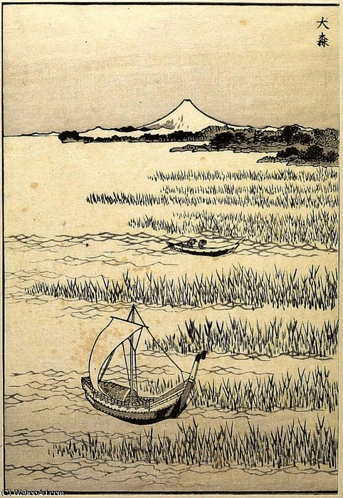 Detatched page from One Hundred Views of Mount Fuji by Katsushika Hokusai (1760-1849, Japan) | Art Reproduction | WahooArt.com