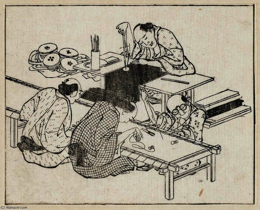 Embroiderers by Katsushika Hokusai (1760-1849, Japan) | Oil Painting | WahooArt.com