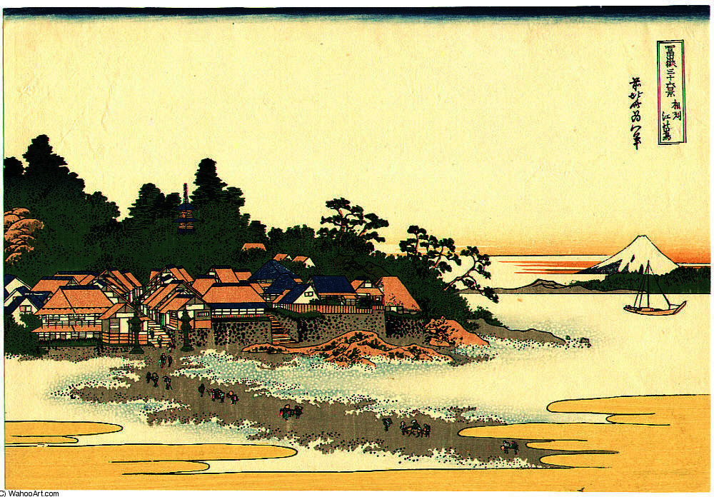 Enoshima - fugaku sanju-rokkei by Katsushika Hokusai (1760-1849, Japan) | Art Reproduction | WahooArt.com